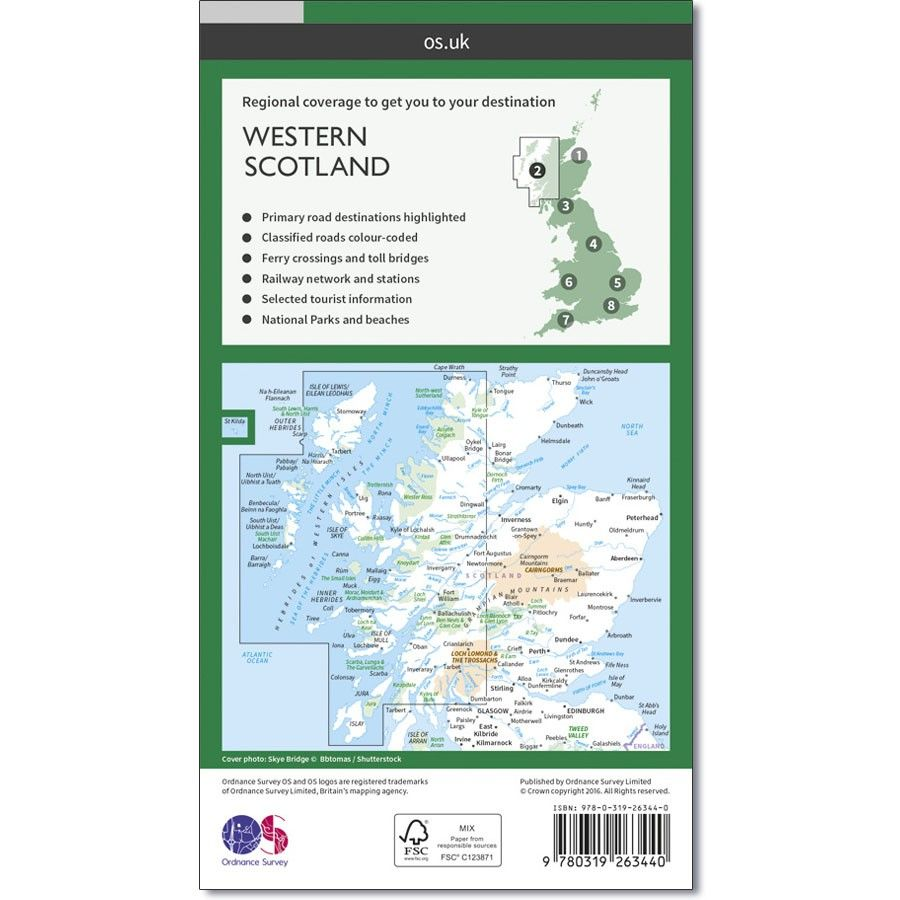 Road Map Of England And Scotland.Ordnance Survey Road Map 2 Western Scotland
